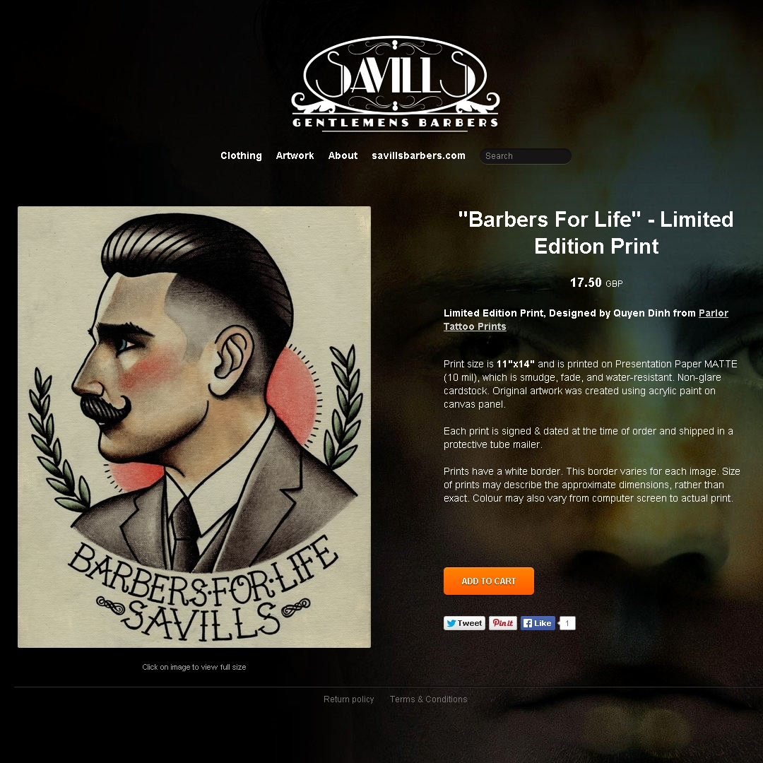 A screen-shot from the online shop for Savills Barbers (of Sheffield)